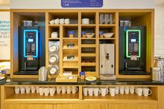 Holiday Inn Express. MOSCOW, RUSSIA - CIRCA AUGUST, 2018: coffee machine at Holiday Inn Express Hotel. Holiday Inn Express is a mid-priced hotel chain within the royalty free stock images