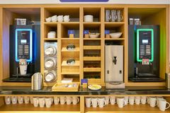Holiday Inn Express. MOSCOW, RUSSIA - CIRCA AUGUST, 2018: coffee machine at Holiday Inn Express Hotel. Holiday Inn Express is a mid-priced hotel chain within the stock photos