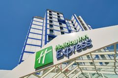 Holiday Inn Express. MOSCOW, RUSSIA - CIRCA AUGUST, 2018: Holiday Inn Express hotel in Moscow. Holiday Inn Express is a mid-priced hotel chain within the royalty free stock image