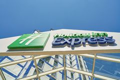 Holiday Inn Express. MOSCOW, RUSSIA - CIRCA AUGUST, 2018: Holiday Inn Express hotel in Moscow. Holiday Inn Express is a mid-priced hotel chain within the royalty free stock photos