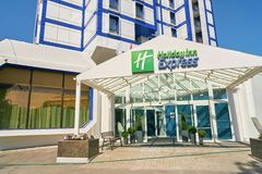 Holiday Inn Express. MOSCOW, RUSSIA - CIRCA AUGUST, 2018: Holiday Inn Express hotel in Moscow. Holiday Inn Express is a mid-priced hotel chain within the royalty free stock images