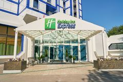 Holiday Inn Express. MOSCOW, RUSSIA - CIRCA AUGUST, 2018: Holiday Inn Express hotel in Moscow. Holiday Inn Express is a mid-priced hotel chain within the stock photo