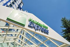 Holiday Inn Express. MOSCOW, RUSSIA - CIRCA AUGUST, 2018: Holiday Inn Express hotel in Moscow. Holiday Inn Express is a mid-priced hotel chain within the stock image
