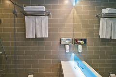 Holiday Inn Express. MOSCOW, RUSSIA - CIRCA AUGUST, 2018: interior shot of a bathroom in Holiday Inn Express. Holiday Inn Express is a mid-priced hotel chain stock photo
