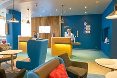 Holiday Inn Express. MOSCOW, RUSSIA - CIRCA AUGUST, 2018: interior shot of a Holiday Inn Express Hotel. Holiday Inn Express is a mid-priced hotel chain within stock image