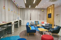 Holiday Inn Express. MOSCOW, RUSSIA - CIRCA AUGUST, 2018: interior shot of a Holiday Inn Express Hotel. Holiday Inn Express is a mid-priced hotel chain within stock photography