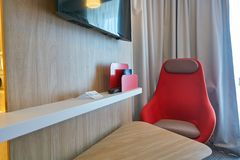 Holiday Inn Express. MOSCOW, RUSSIA - CIRCA AUGUST, 2018: interior shot of a hotel room in Holiday Inn Express. Holiday Inn Express is a mid-priced hotel chain royalty free stock image