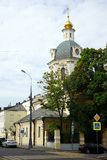 Church on the street. MOSCOW, RUSSIA - CIRCA JULY 2018  Church of St. Nicholas in the bell ringers Stock Image