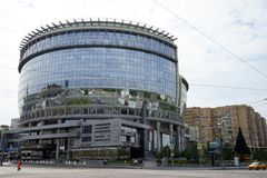 New building in Moscow. MOSCOW, RUSSIA - CIRCA JULY 2018  Modern building on the Olimpiysky prospect Stock Images
