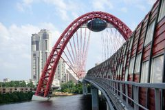 Picturesque bridge. MOSCOW, RUSSIA - CIRCA JULY 2018 Picturesque bridgealso known as a bridge in Serebryany Bor. A cable-stayed bridge across the Moscow River stock photos