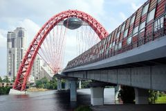 Picturesque bridge. MOSCOW, RUSSIA - CIRCA JULY 2018 Picturesque bridgealso known as a bridge in Serebryany Bor. A cable-stayed bridge across the Moscow River stock images