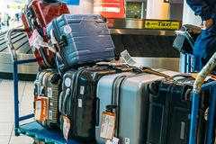 Moscow, Russia - Circa June 2017: Airport luggage Trolley with suitcases Domodedovo Airport Stock Photo