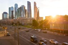 MOSCOW, RUSSIA - CIRCA JUNE, 2018: Street view of of Kutuzov Avenue and business complex Moscow City. At sunset stock photo