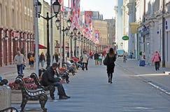MOSCOW, RUSSIA - 21, 09.2015. City landscape. Nikolskaya Street. Nikolskaya Street is one of  oldest and most beautiful streets of Stock Photos