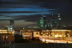 Moscow City Lights Under Dusk Sky. MOSCOW, RUSSIA - City Lights Under Dusk Sky. View from observation platform of Russian Academy of Sciences RAS headquarters in stock images