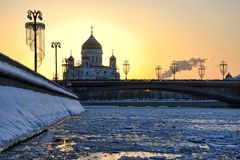 Winter Sunset Behind Christ the Savior Cathedral stock photography