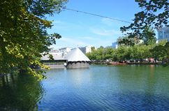 Moscow, Russia, August, 12, 2018.  Clean ponds Chistye Prudy in sunny august day in Moscow. Moscow, Russia.  Clean ponds Chistye Prudy in sunny august day in stock photos