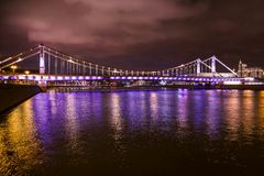 Moscow, Russia. Crimean bridge with night illumination. Moscow river royalty free stock photo