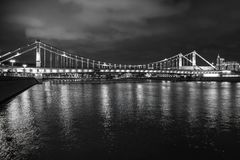 Moscow, Russia. Crimean bridge with night illumination. Moscow river. Moscow, Russia. Crimean bridge with night illumination in whinter Moscow river Stock Photography