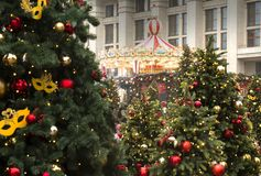 MOSCOW, RUSSIA - DEC, 2017: Christmas and New Year on Manege Square. Festival Moscow Seasons. Christmas trees and festive decoration Royalty Free Stock Photography