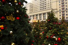 MOSCOW, RUSSIA - DEC, 2017: Christmas and New Year on Manege Square. Festival Moscow Seasons. Christmas trees and festive decoration Stock Images