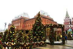MOSCOW, RUSSIA - DEC, 2017: Christmas and New Year on Manege Square. Festival Moscow Seasons. Christmas trees and festive decoration Stock Image