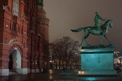 Marshal Zhukov Monument. Moscow, Russia - Dec 13, 2017: Marshal Zhukov Monument. The statue of the Soviet military leader during the WW2. `Marshal of the Victory Royalty Free Stock Images