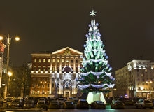 Moscow, Russia - December 15, 2011: Christmas tree Royalty Free Stock Photos