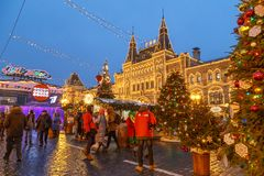 Moscow, Russia, December 4, 2018: Moscow decorated for New Year and Christmas holidays. GUM fair on Red Square royalty free stock photo