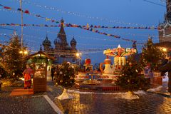 Moscow, Russia, December 4, 2018: Moscow decorated for New Year and Christmas holidays. GUM fair on Red Square royalty free stock photos