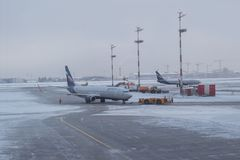 Moscow, Russia - 29 December,2018. Aeroflot airplanes on the winter runway stock image