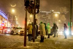Moscow, Russia - December 2017: Bad weather with snow and a snowstorm in the streets of Moscow stock photos