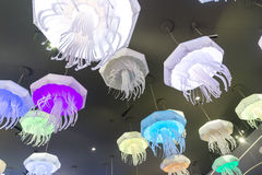 Moscow, Russia - December 10.2016. Chandeliers of form of jellyfish in the aquarium in Krasnogorsk Stock Photos
