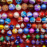 MOSCOW, RUSSIA - DECEMBER 24, 2014: Christmas painted glass ball Royalty Free Stock Photography