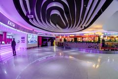 Shopping mall interior. Moscow, Russia - December 10, 2017: Cinema zone Kinomax in Columbus shopping mall interior with fisheye effect Stock Photos