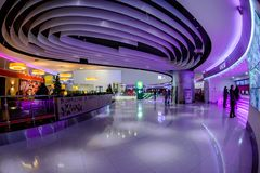 Shopping mall interior. Moscow, Russia - December 10, 2017: Cinema zone Kinomax in Columbus shopping mall interior with fisheye effect Stock Photo