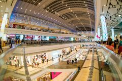 Moscow, Russia - December 10, 2017: Columbus shopping mall interior with fisheye effect. Big shopping mall interior with fisheye effect Royalty Free Stock Photography