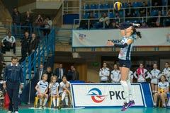 MOSCOW, RUSSIA - DECEMBER 2: E. Gamova (Dynamo (KZN) 11, while p. Laying on women's Rissian volleyball Championship game Dynamo (MSC) vs Dynamo (KZN) at the Royalty Free Stock Photo