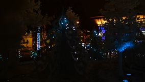Moscow, Russia - December 22. 2016. Festival Journey to Christmas, light installation Musical Forest on Pushkin Square stock video