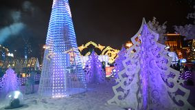 Moscow, Russia - December 22. 2016. Festival Journey to Christmas, light installation Musical Forest on Pushkin Square stock video footage