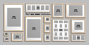 Full collection of IKEA Ribba photo frames. Real sizes. Vector set of wooden picture frames with white passepartout. Moscow, Russia - December 10, 2018: Full stock illustration