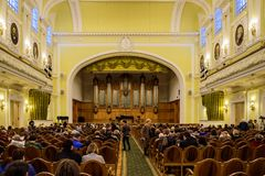 Moscow, Russia-December, 30, 2017: Great Hall of the Moscow Tchaikovsky Conservatory. A view of the stage.  royalty free stock photo