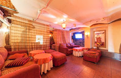 MOSCOW/RUSSIA - DECEMBER 2014. Interior art-club and restaurant The Tunnel. Hall restaurant in a classic style Stock Photo