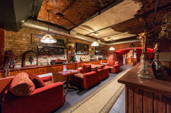 MOSCOW/RUSSIA - DECEMBER 2014. Interior art-club and restaurant The Tunnel. Hall restaurant in a retro style Royalty Free Stock Image