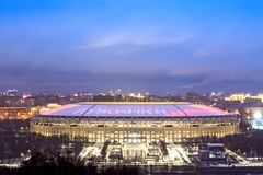 MOSCOW, RUSSIA - DECEMBER, 2017: Luzhniki stadium in Moscow during blue hour in the evening. 2018 FIFA World Cup final game stadiu Royalty Free Stock Photo