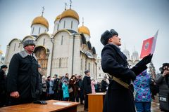 MOSCOW, RUSSIA - DECEMBER 09, 2017: Military oath of the Presidential Regiment. Of the Service of Moscow Kremlin's Commandant of the Federal Guard Service of Royalty Free Stock Image