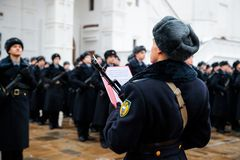 MOSCOW, RUSSIA - DECEMBER 09, 2017: Military oath of the Presidential Regiment. Of the Service of Moscow Kremlin's Commandant of the Federal Guard Service of Royalty Free Stock Photography