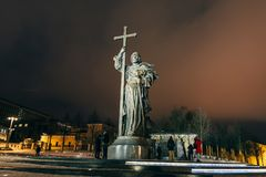 MOSCOW, RUSSIA - DECEMBER 23, 2016: Monument to Holy Prince Vladimir the Great on Borovitskaya Square near the Kremlin. Moscow stock image
