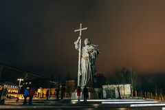 MOSCOW, RUSSIA - DECEMBER 23, 2016: Monument to Holy Prince Vladimir the Great on Borovitskaya Square near the Kremlin. Moscow royalty free stock images