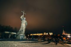MOSCOW, RUSSIA - DECEMBER 23, 2016: Monument to Holy Prince Vladimir the Great on Borovitskaya Square near the Kremlin. Moscow stock photo